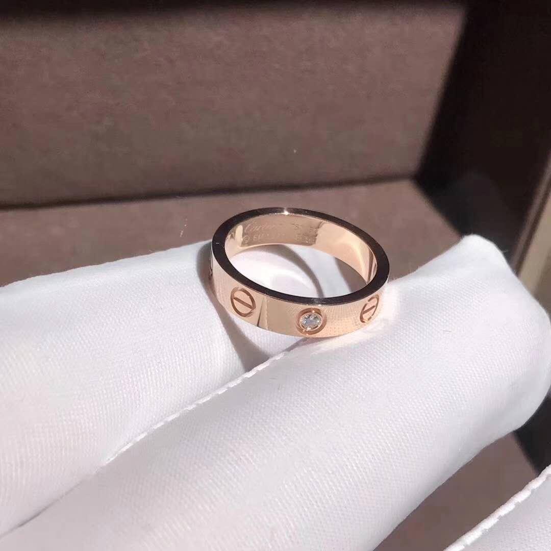18k pink gold yellow gold cartier love wedding band 1 diamond ring junglespirit Choice Image