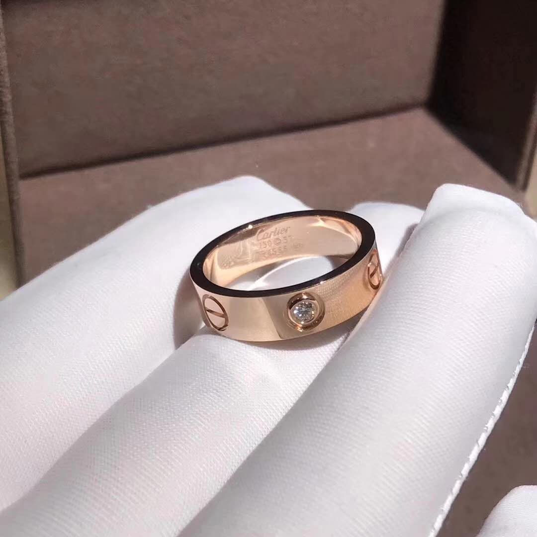 18K pink gold yellow gold Cartier Love wedding band 1 diamond ring