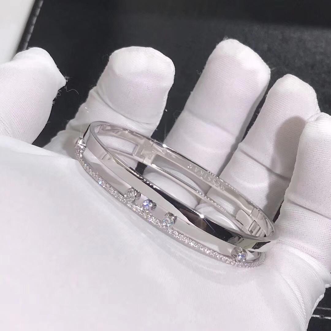 18k White Gold Messika Move Romane Diamond Bangle Bracelet
