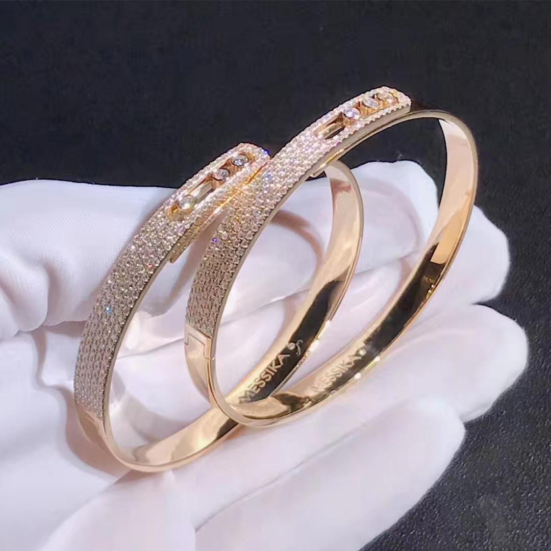 18k Gold Messika Noa Move Pave Diamond Bangle Bracelet