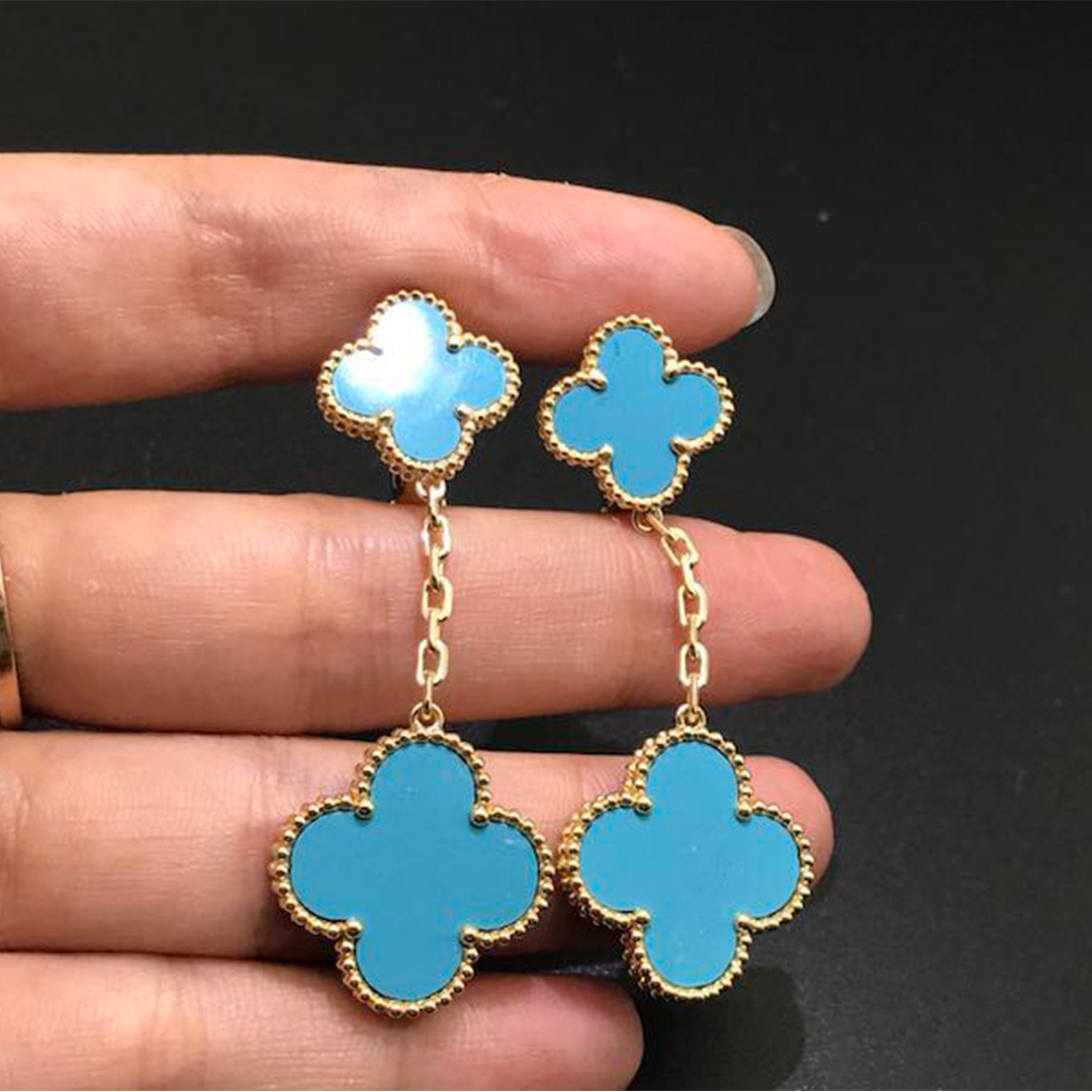 18K Gold Van Cleef & Arpels Magic Alhambra 2 Motif Turquoise Earrings