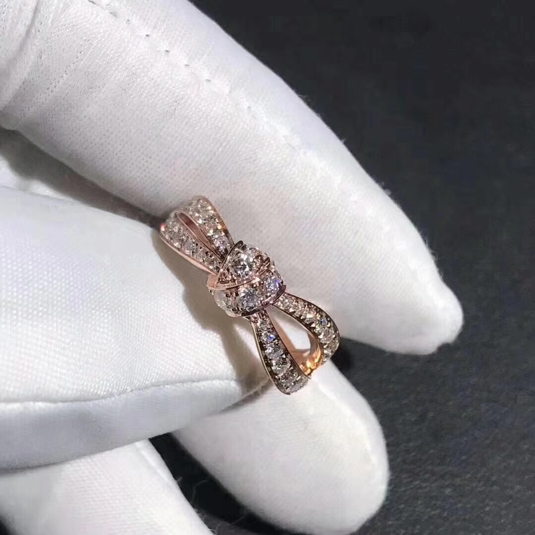 18K Pink Gold Chaumet Liens Séduction Diamond Bow Ring