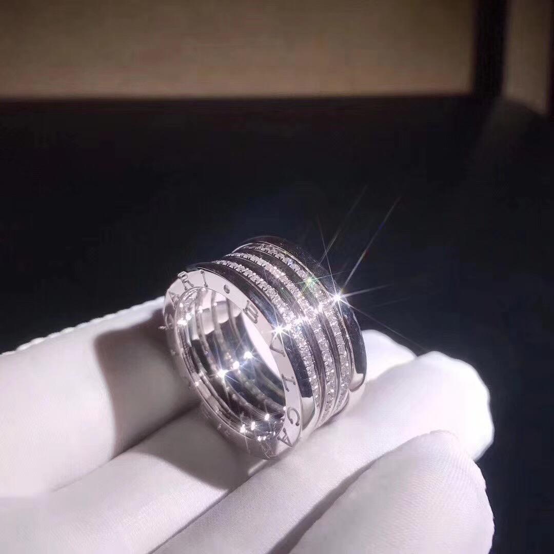 Bulgari/Bvlgari B.zero1 4-band Ring 18k White Gold set with Pavé Diamonds on the Spiral AN850556