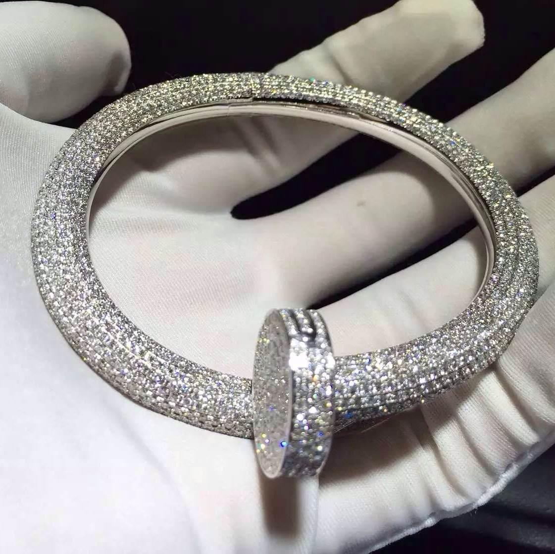 18K white gold Cartier Juste un Clou Nail Bracelet Paved 1752 Diamonds