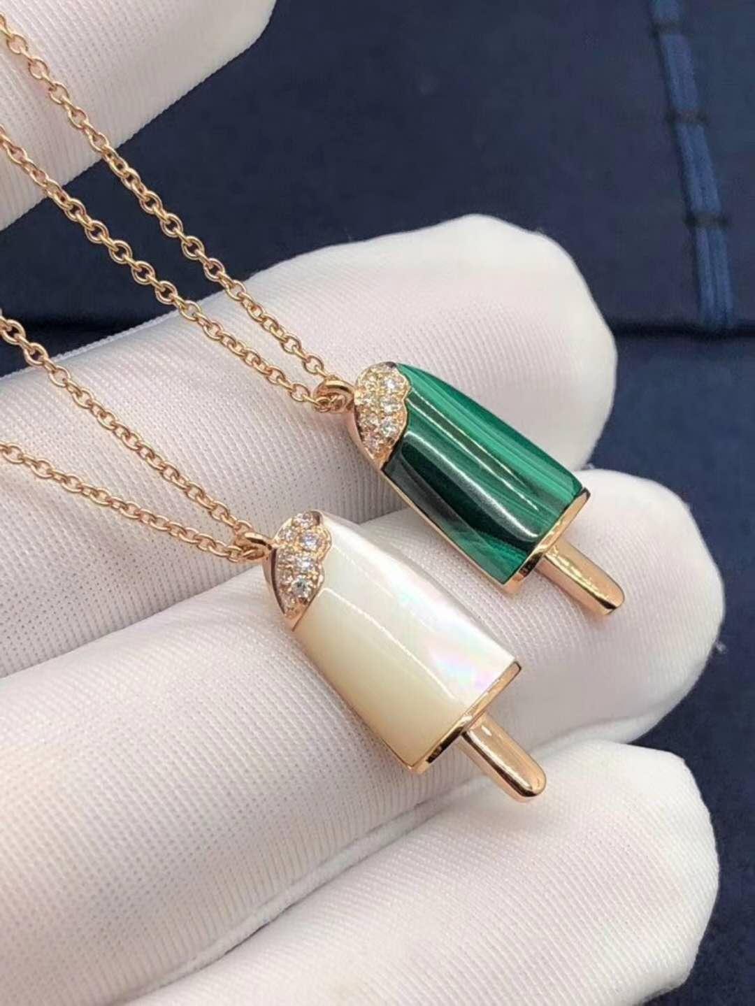 Inspired Bvlgari Bvlgari Gelati 18K Gold Ice Cream Necklace Set with Gems and Pave Diamonds