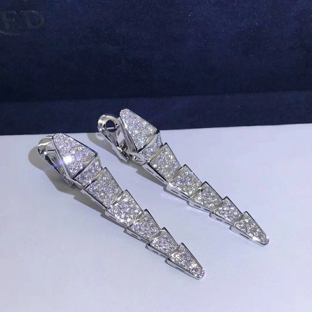 Inspired Bvlgari Serpenti earrings in 18kt white gold set with full pave diamonds