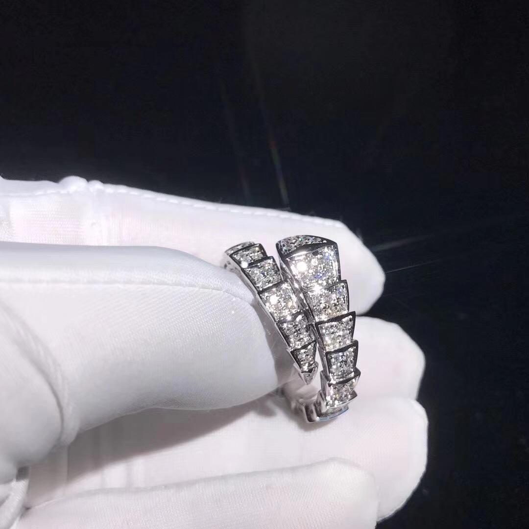 Bvlgari / Bulgari Serpenti Ring 18k White Gold with Diamonds