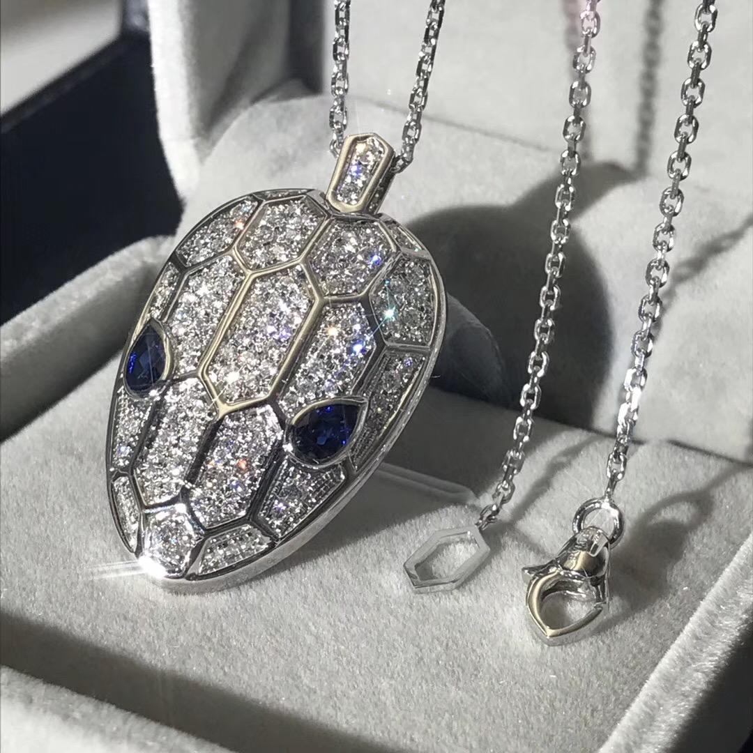 Bvlgari Serpenti Necklace 18kt White Gold Chain & Pendant with Diamonds