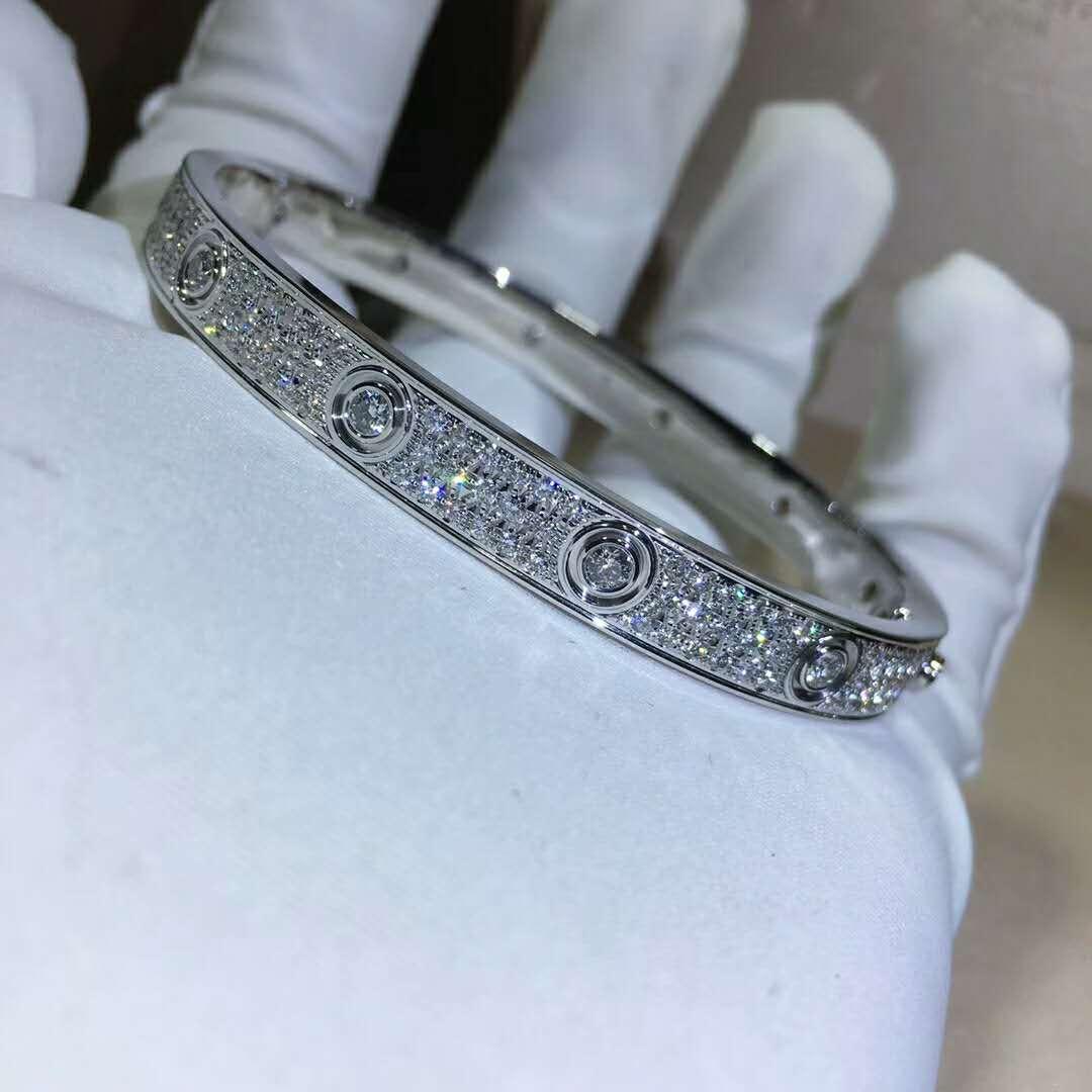 18k gold cartier love bracelet with full diamond