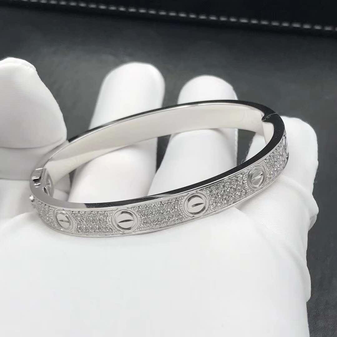 Cartier Love bracelet real 18K white gold with full diamonds