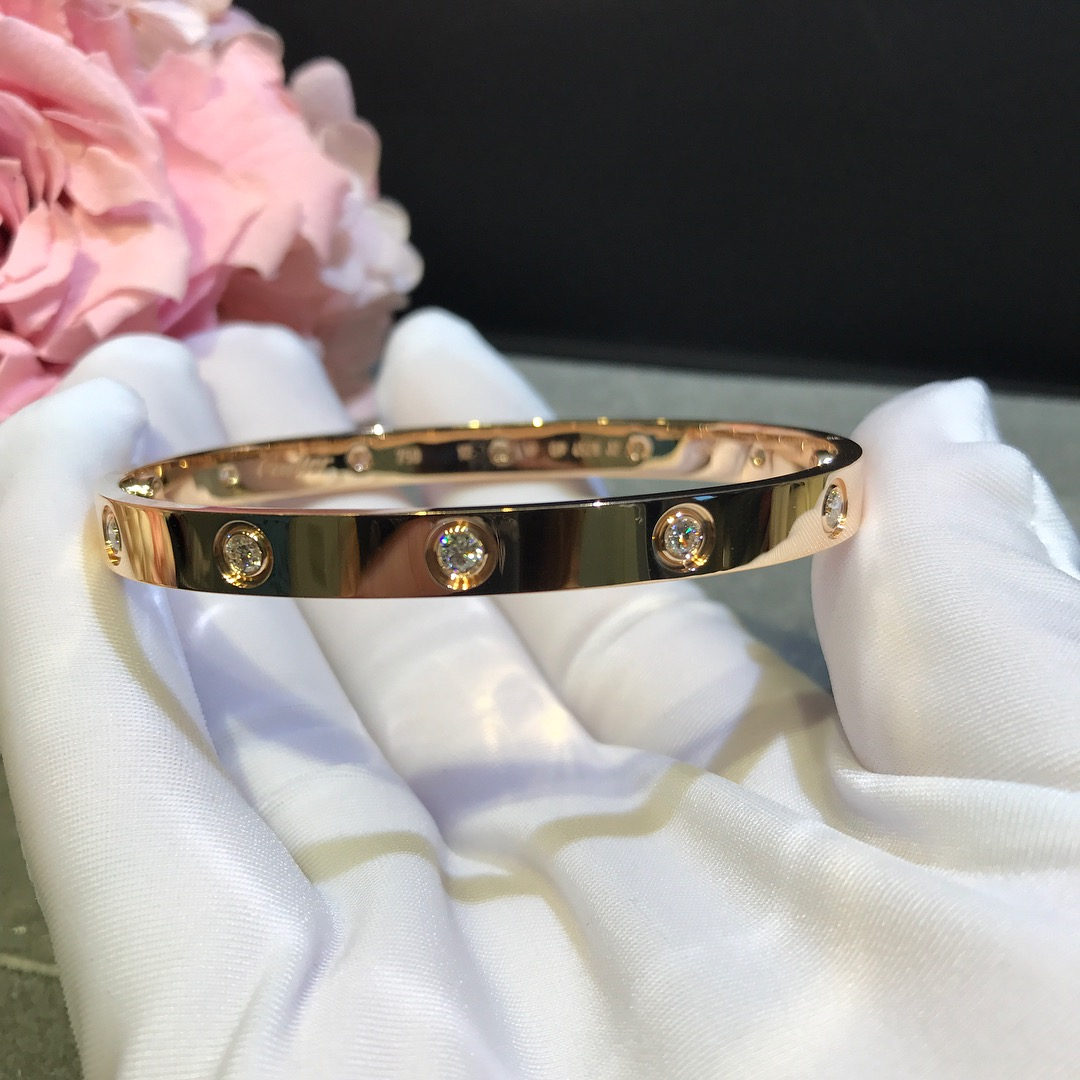 Cartier Love Bracelet 18k Pink/Yellow/White Gold With 10 Diamonds