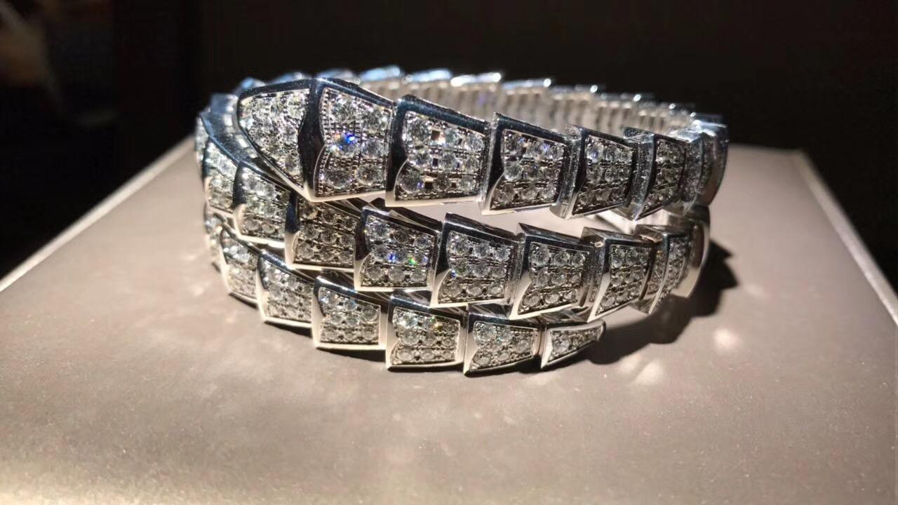 Bulgari / Bvlgari Serpenti 2-Coil Bracelet 18k white gold set full pave diamonds