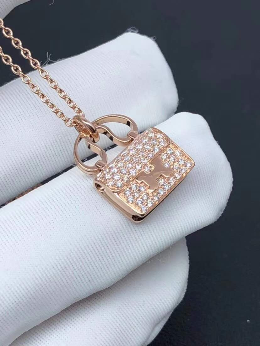 Hermes Constance Amulette Bag Pendant Necklace in 18k Rose Gold Pave Diamonds