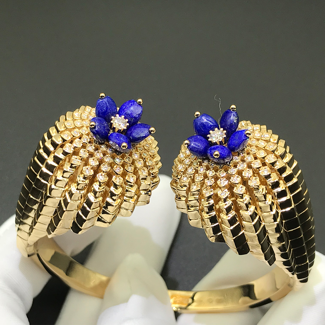 Inspired 18K yellow gold Cactus de Cartier bracelet with lapis lazuli and diamonds