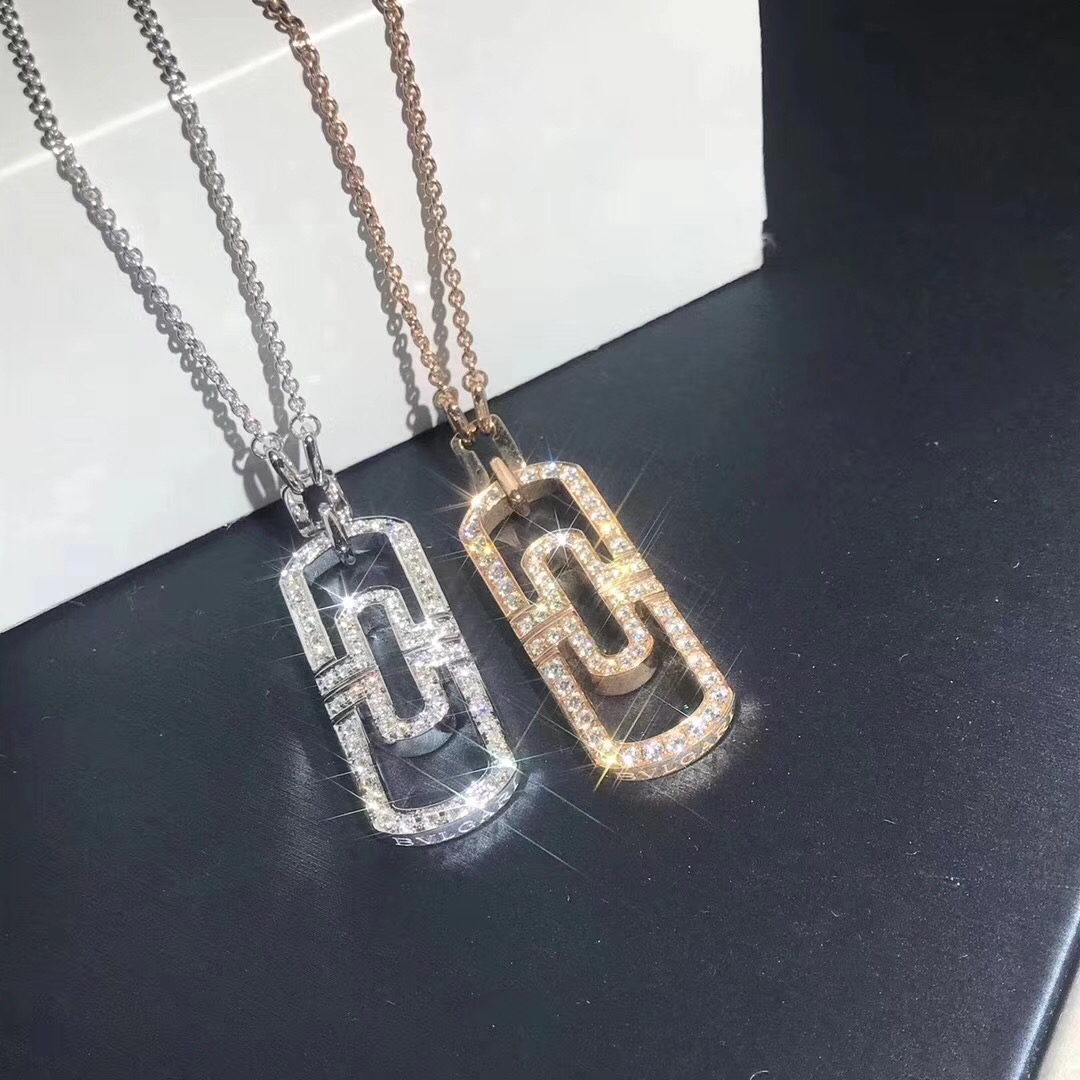 18k Gold Bvlgari Parentesi Diamond Pendant Necklace
