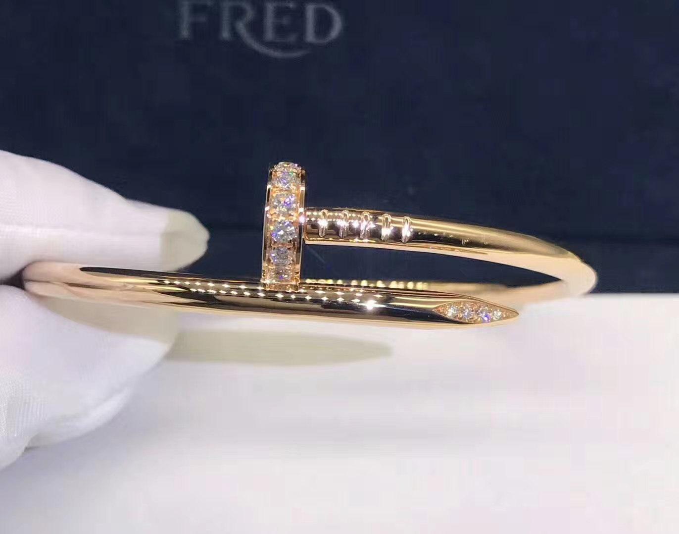 18k Gold Cartier Juste Un Clou Bracelet Set with Diamonds Both Ends