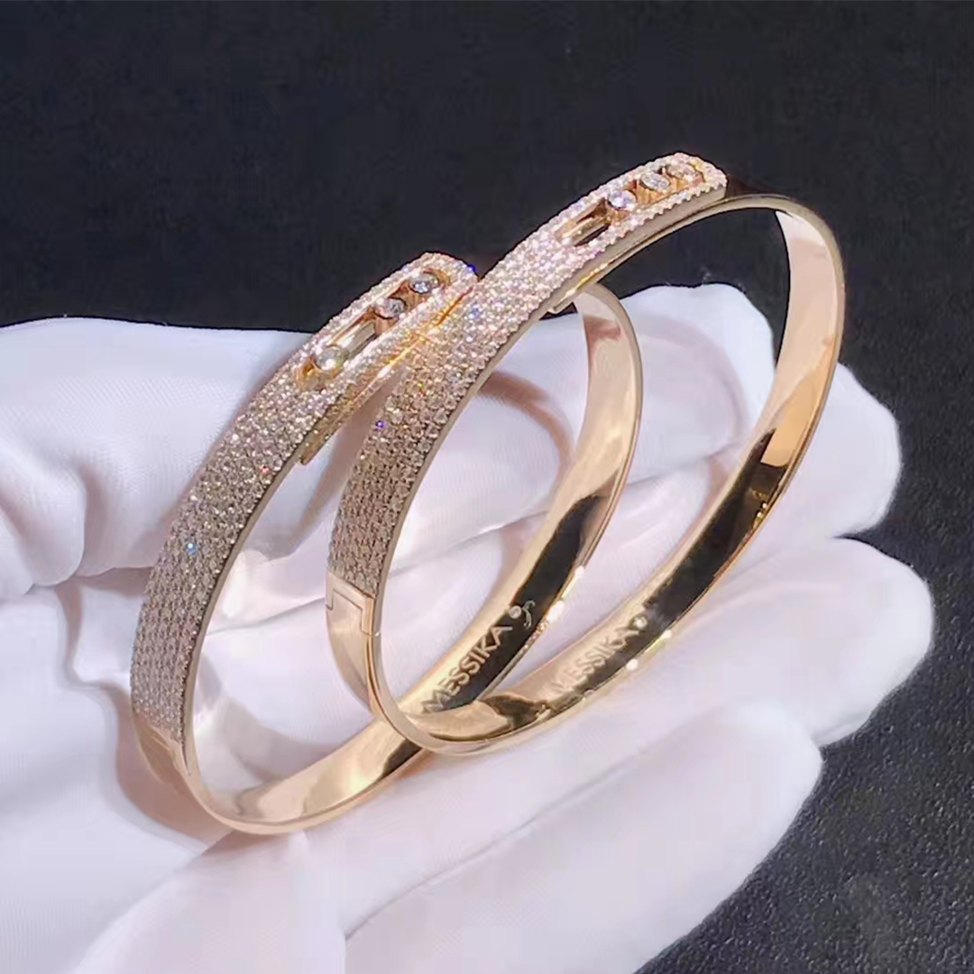 18k Gold Messika Noa Move Pave Diamond Bangle Bracelet