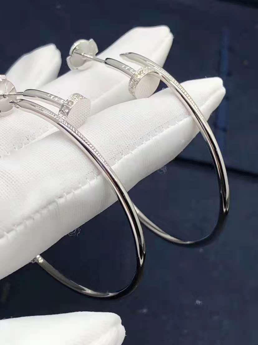 Cartier Juste un Clou Diamond 18k White Gold Hoop Earrings