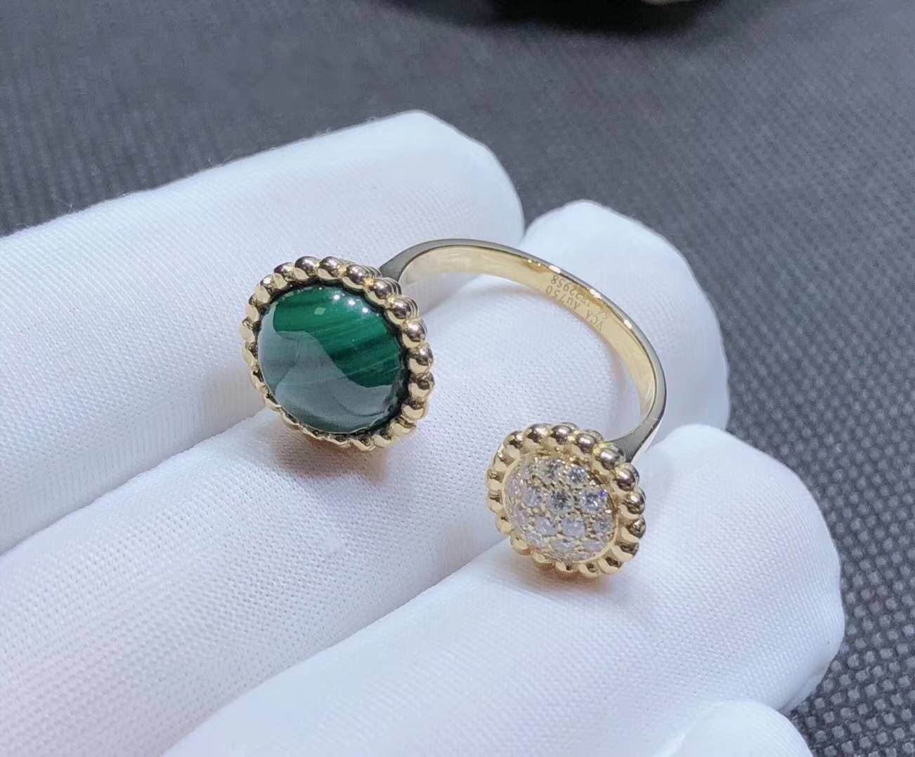 Inspired Van Cleef & Arpels 18K Gold Perlee Couleurs Malachite & Diamond Between the Finger Ring