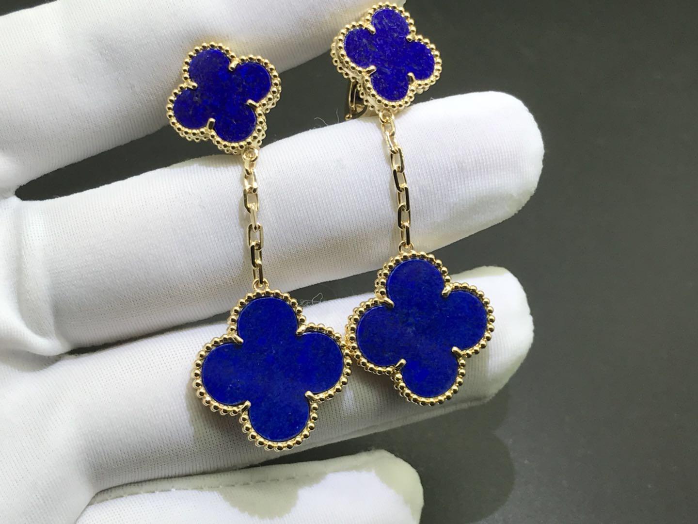 Van Cleef & Arpels Lapis Lazuli 2 Motifs Magic Alhambra Gold Earrings