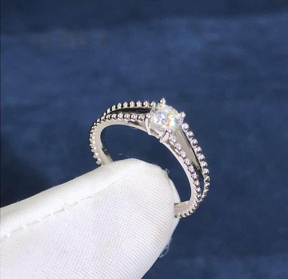 Van Cleef & Arpels Perlee Platinum 0.31ct Diamond Solitaire Engagement Ring