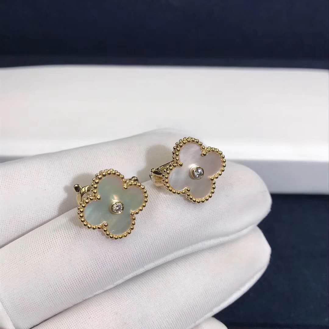 Van Cleef & Arpels 18K Yellow Gold Vintage Alhambra Diamond MOP Earrings