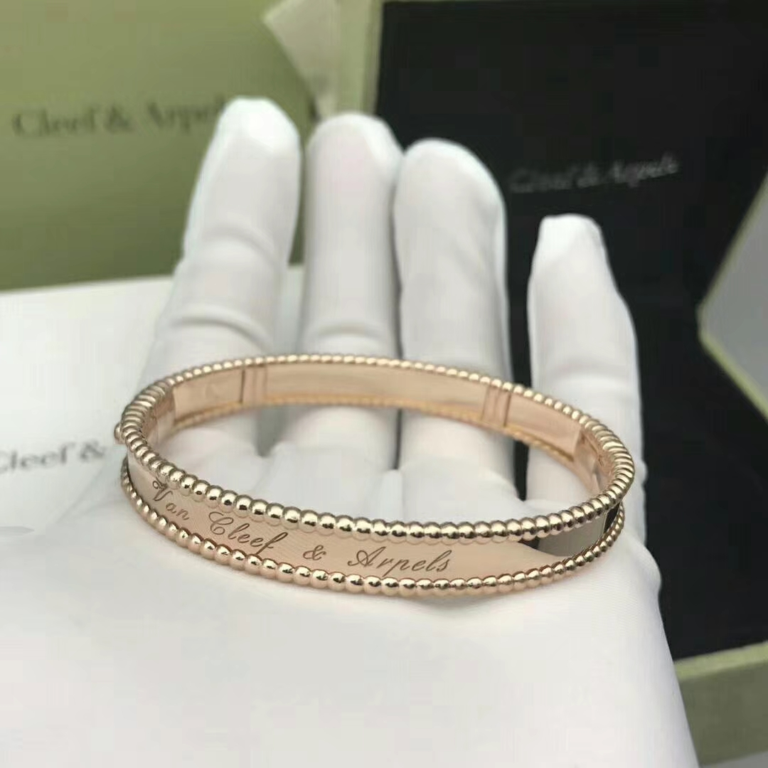 Designer 18k Pink Gold Van Cleef & Arpels Perlée signature bracelet, medium model