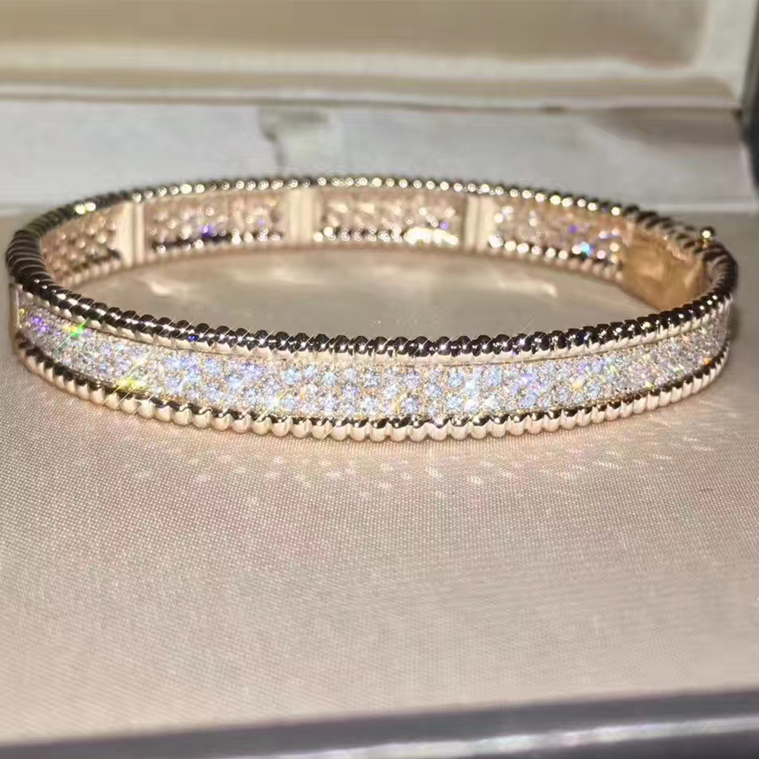 18k Pink Gold Van Cleef & Arpels Perlée diamonds bracelet, medium model