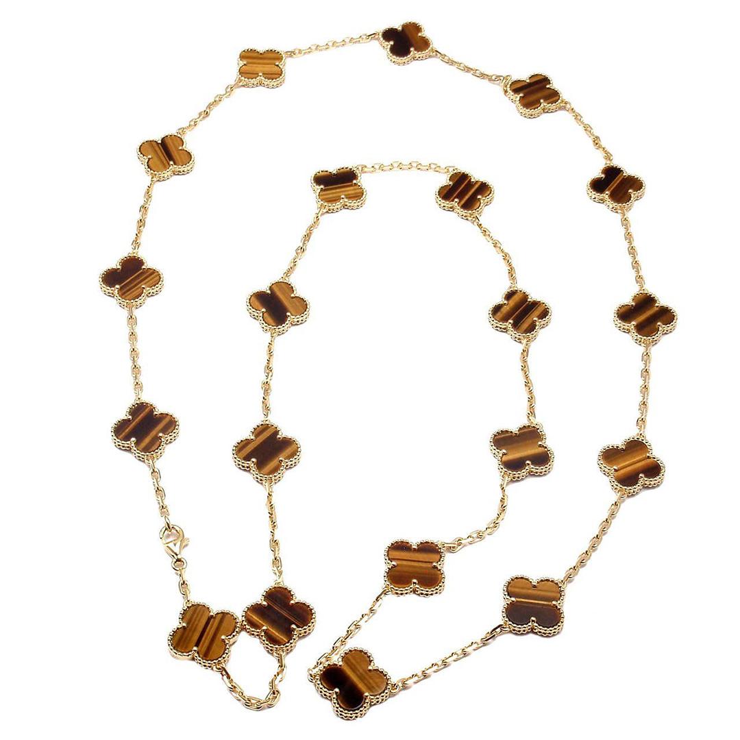 18k Gold Van Cleef & Arpels Vintage Alhambra Long Necklace 20 Tiger Eye Motifs VCARD39900