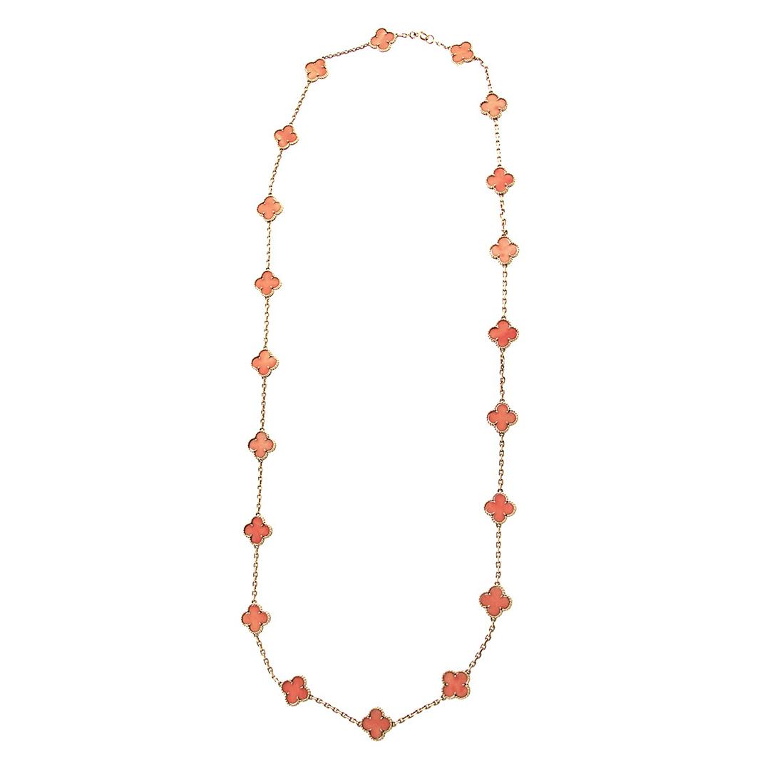 18k Gold Van Cleef & Arpels orange coral Vintage Alhambra necklace 20 motifs