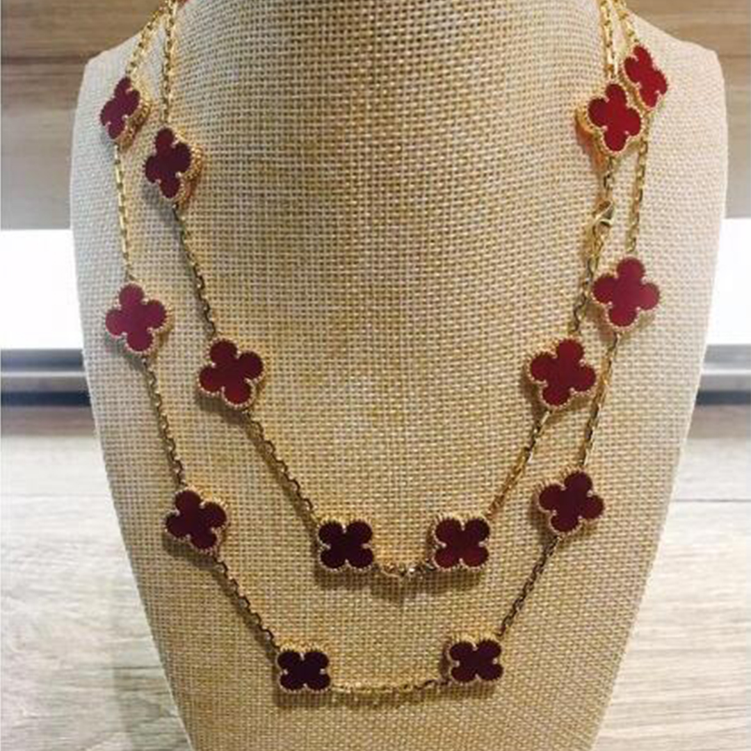 Van Cleef & Arpels Vintage Alhambra 18k Yellow Gold Carnelian 20 Motifs Long Necklace
