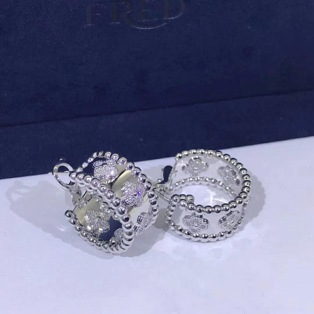 Van Cleef & Arpels Perlée Clover Diamonds 18K White Gold Hoop Earrings