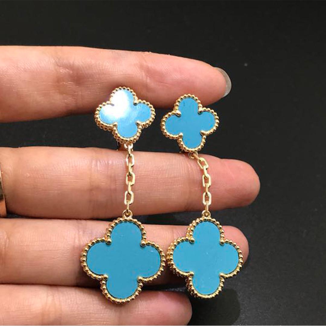 18K Gold Van Cleef & Arpels Magic Alhambra 2 Motif Turquoise Earrings
