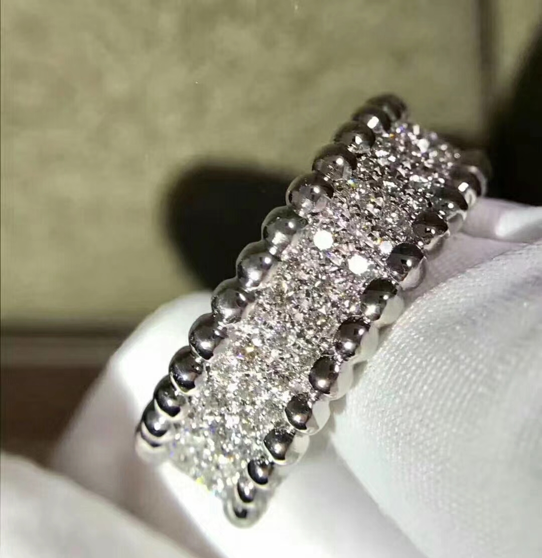 Inspired 18k White Gold Van Cleef & Arpels Perlée Diamonds Band ring