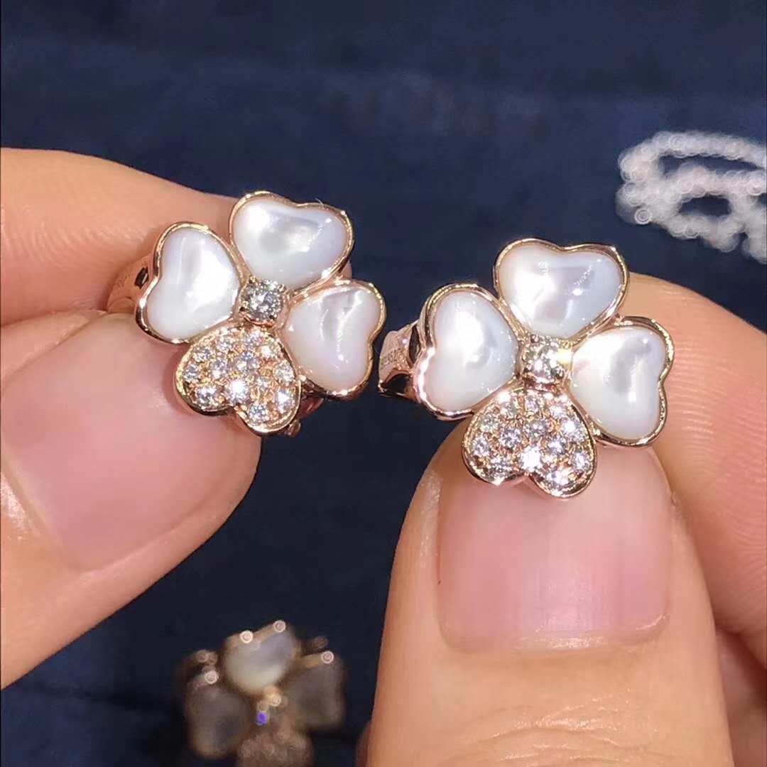 Van Cleef & Arpels Medium Cosmos Earrings 18k Pink Gold with Diamonds & Mother-of-Peal VCARO5BZ00