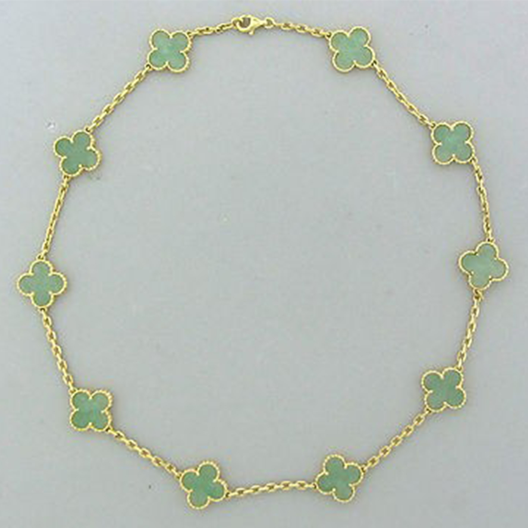Van Cleef & Arpels Vintage Alhambra 18k Yellow Gold Jade Clover 10-Motif Necklace