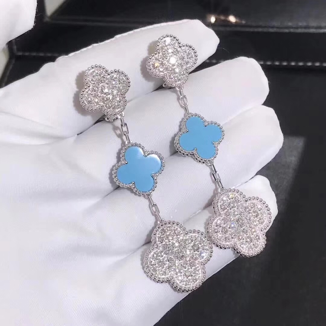 Van Cleef & Arpels Magic Alhambra Turquoise & Diamonds 3 Motifs Ear Clips 18k White Gold
