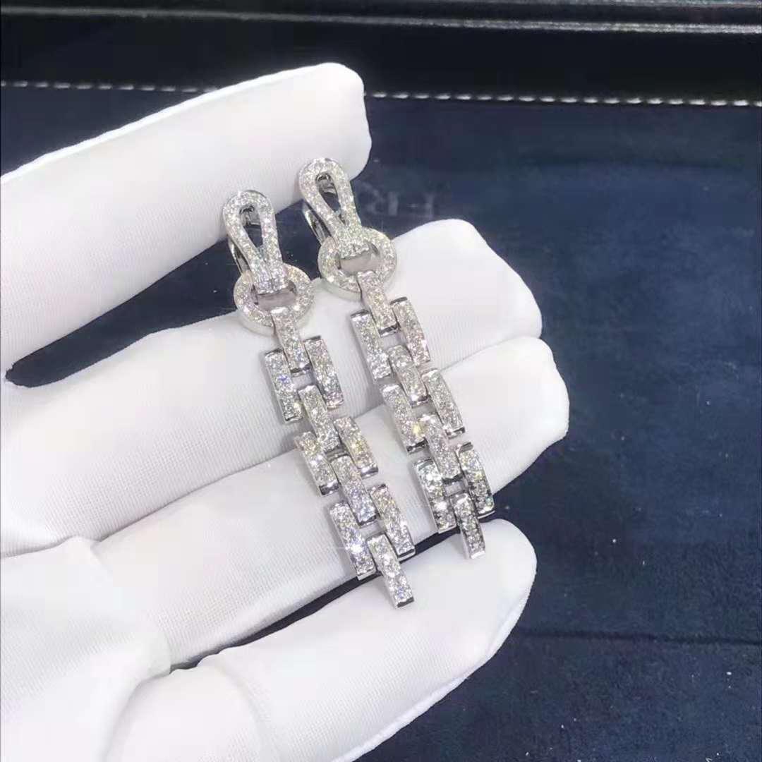 Inspired 18k White Gold Cartier Agrafe Diamond Earrings