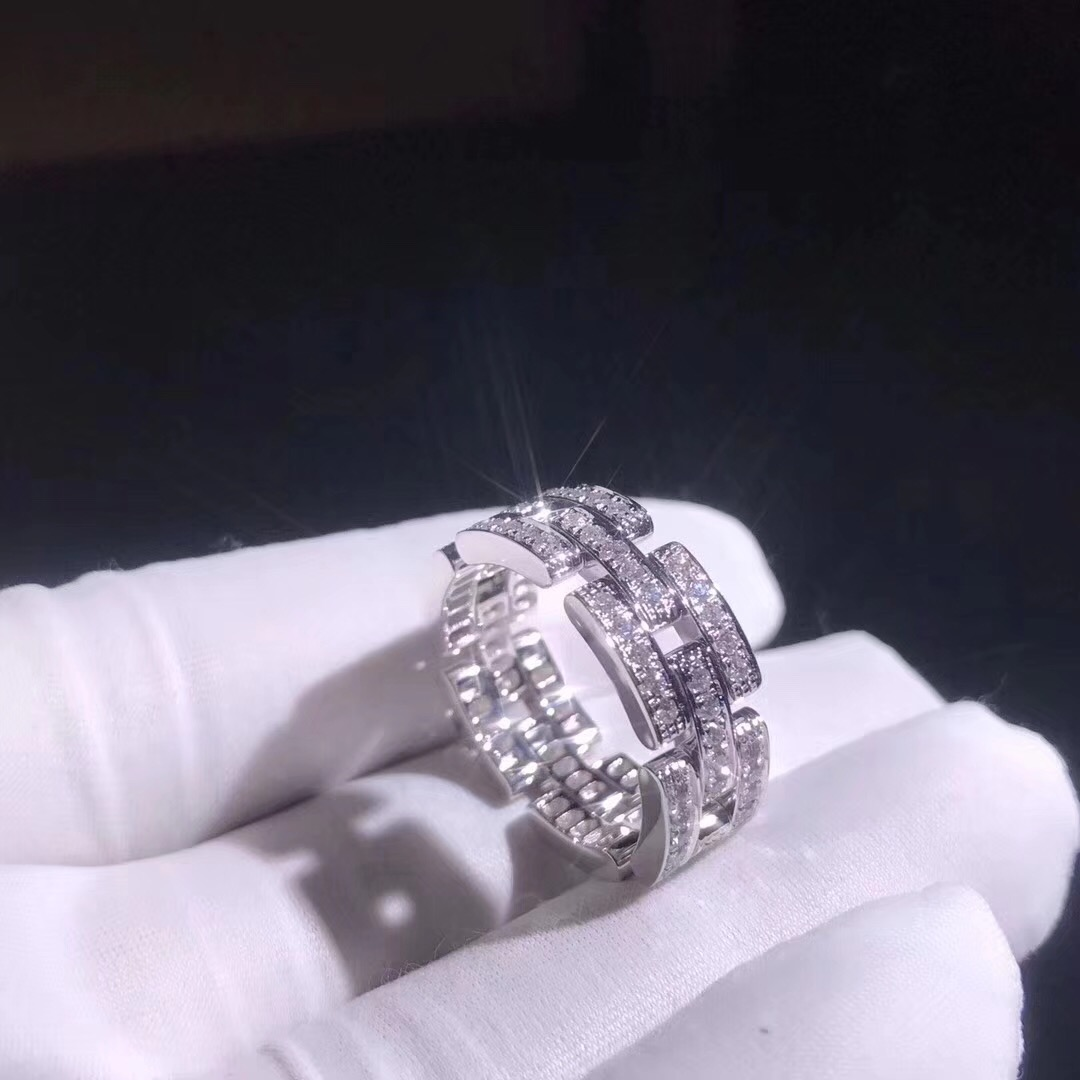 Cartier 18k White Gold Diamond Maillon Panthère Ring