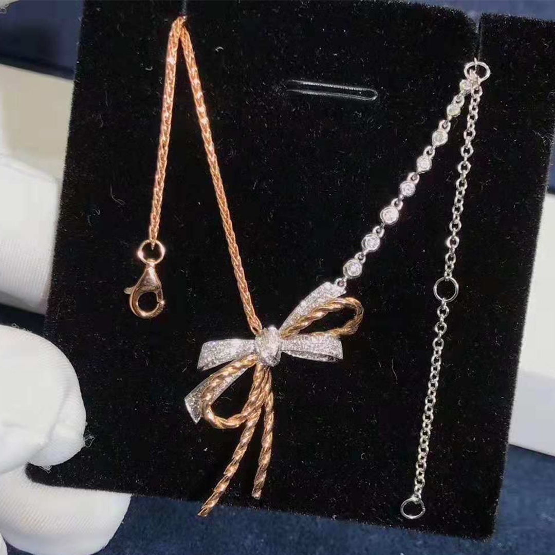 18k Gold Chaumet Insolence Diamond Bow Pendant Necklace
