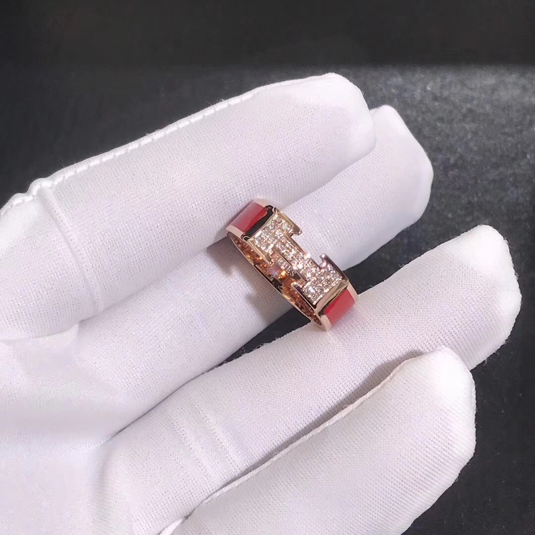 Inspired Hermes Clic H Red Enamel Ring 18k Rose Gold set with diamond