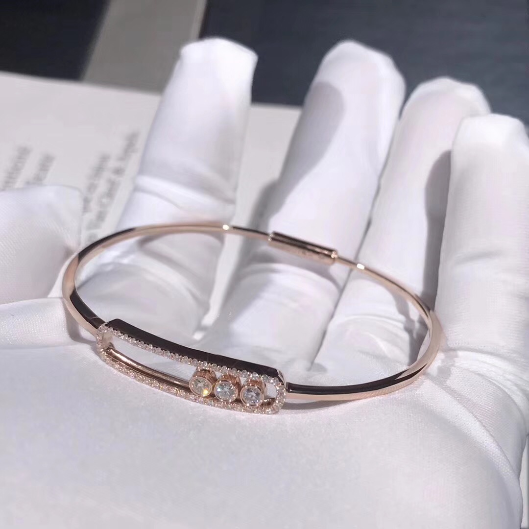 Inspired Messika Move Pavé Thin Bracelet 18k Pink Gold