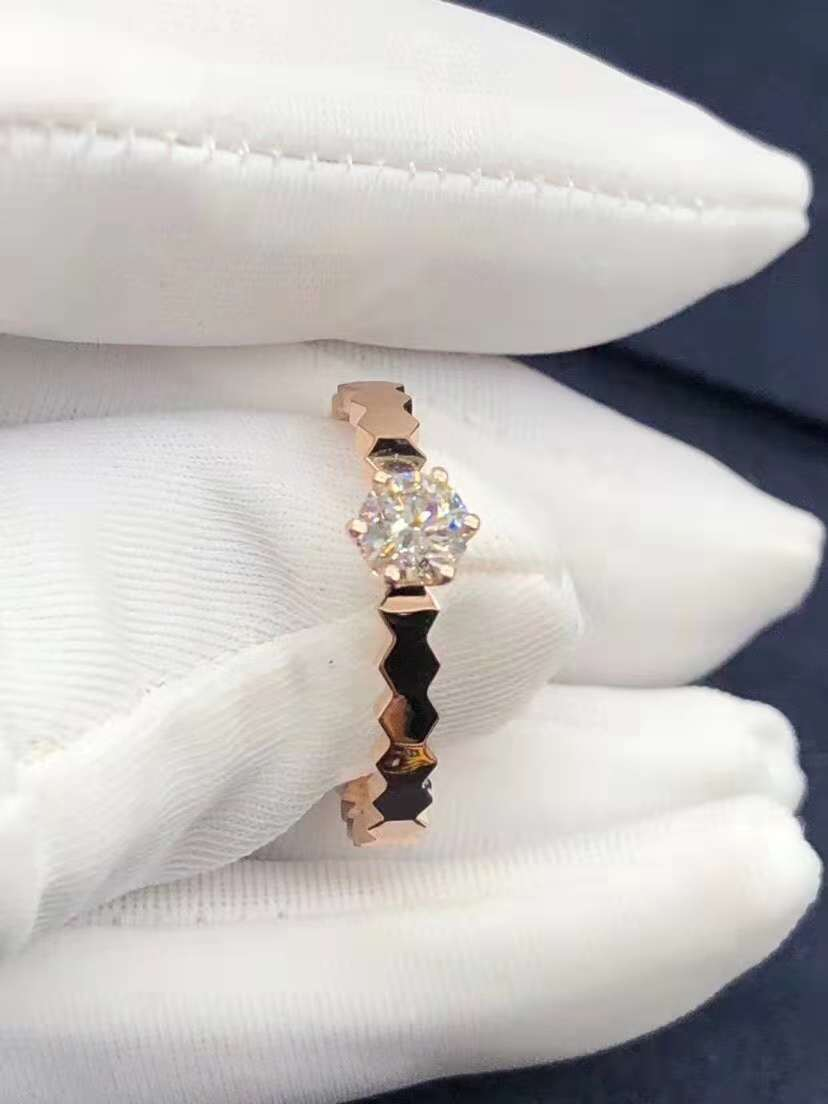 Inspired 18k Pink Gold Chaumet Bee My Love solitaire diamond engagement ring