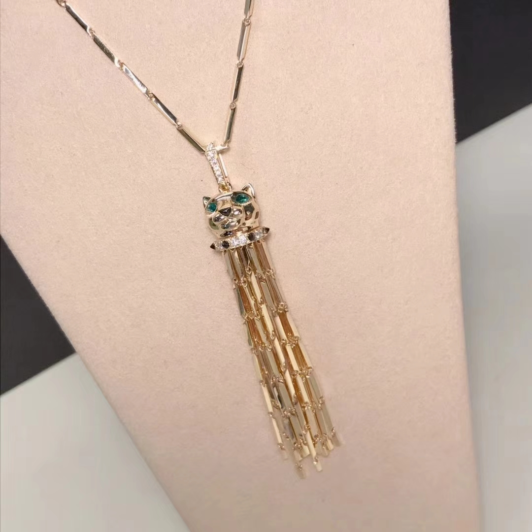 Panthère de Cartier Tassel Long Necklace in 18k Yellow Gold with Diamond Emerald & Onyx