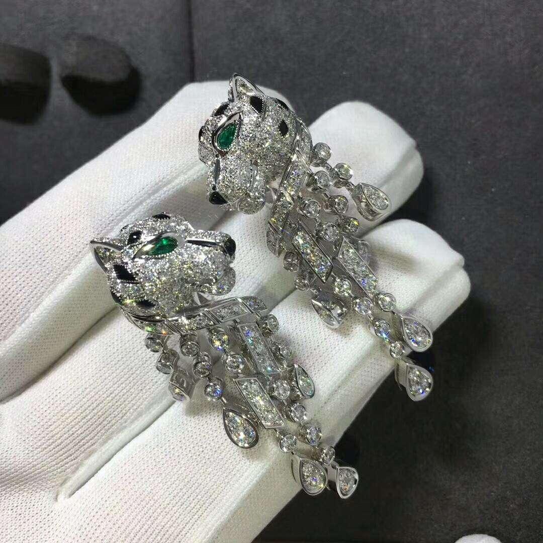 Panthère de Cartier Earrings in Platinum set with 310 Brilliant-cut Diamonds emeralds & onyx