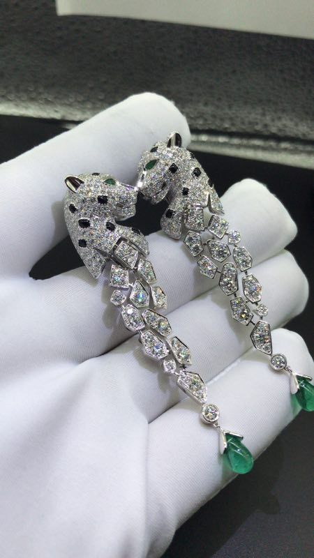 Inspired Panthere de Cartier Earrings 18k White Gold with Diamonds & Emeralds