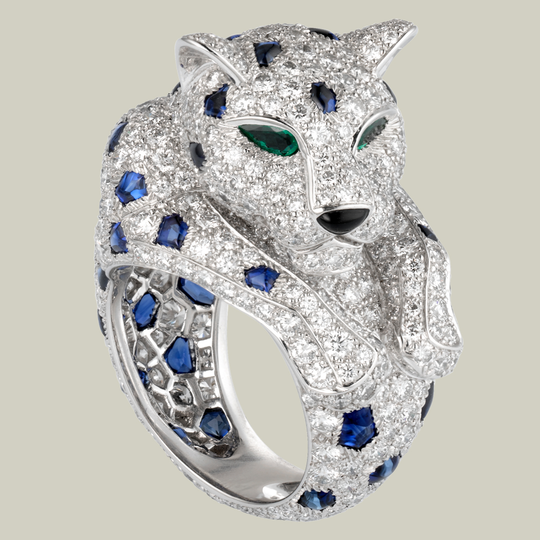 Inspired Panthere de Cartier Ring Platinum with Sapphiers, Emeralds and Diamonds