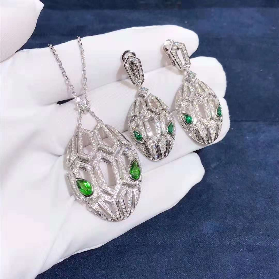 Bvlgari Serpenti Necklace & Earrings Set in 18kt White Gold with Pave Diamonds