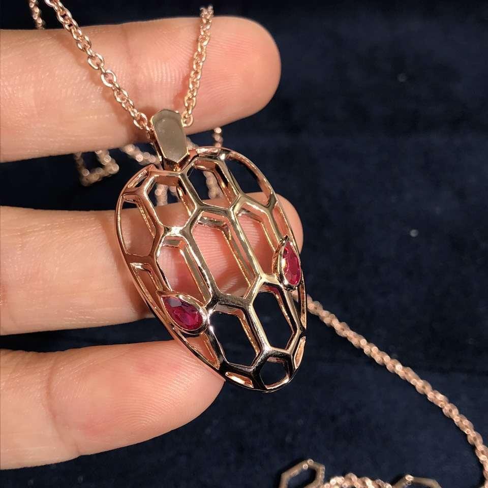 Bvlgari /Bulgari Serpenti Seduttori pendant necklace in 18k rose gold with ruby