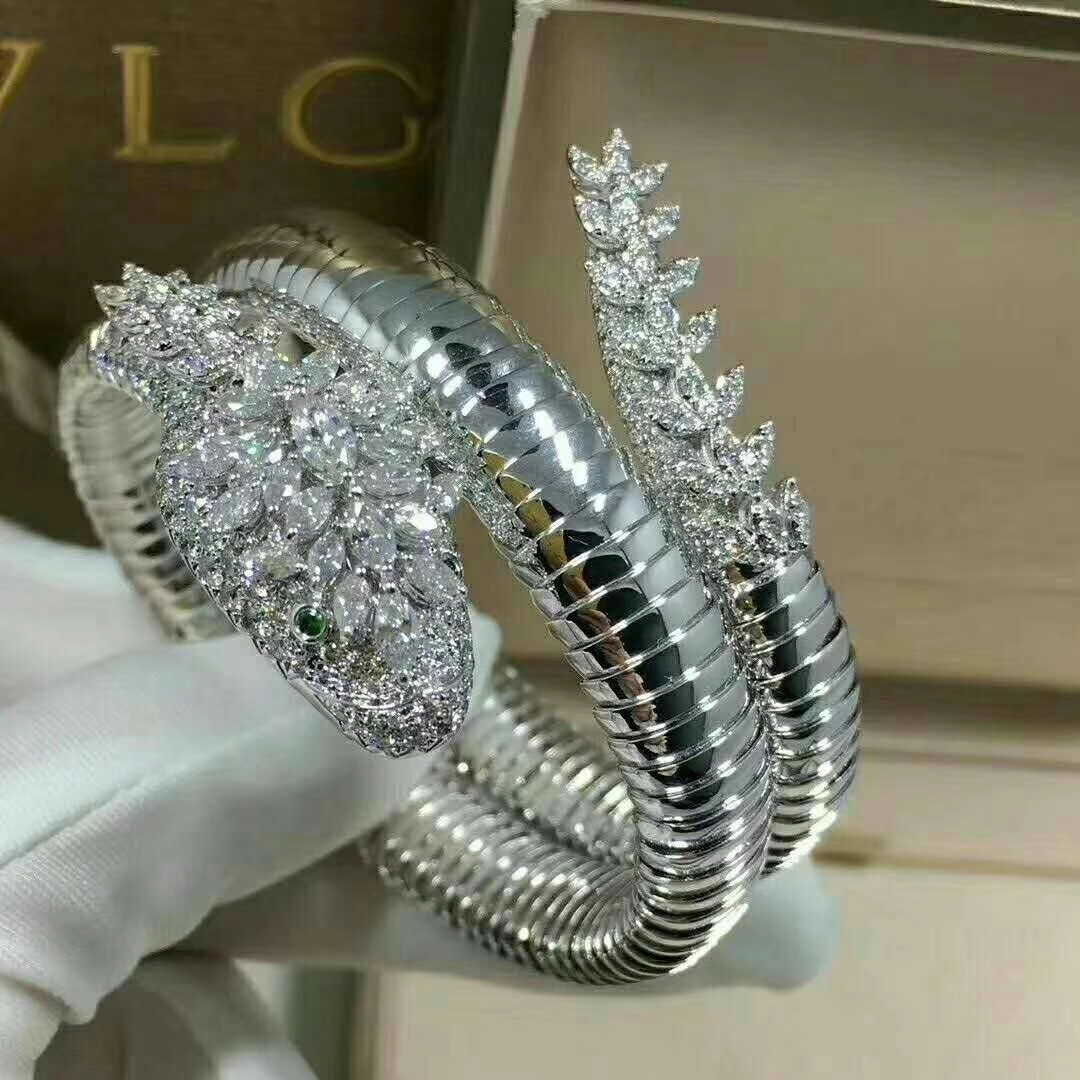 Bvlgari High Jewelry 18k White Gold Serpenti Diamond Bracelet